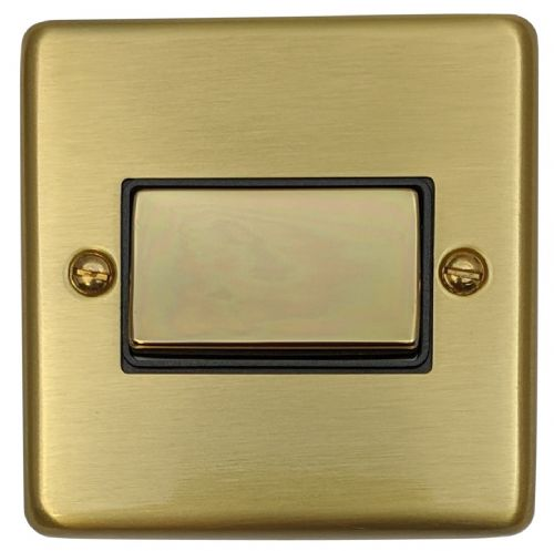G&H CSB369 Standard Plate Satin Brushed Brass 1 Gang Triple Pole 10A Fan Isolator Switch